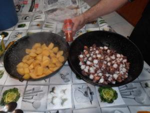 ingredientes cocinados de pulpo con patatas y alioli
